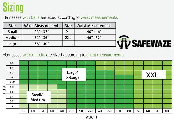 Safewaze Harness Sizing Chart