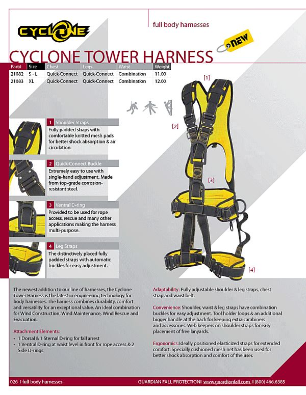 Cyclone Tower Harness catalog page